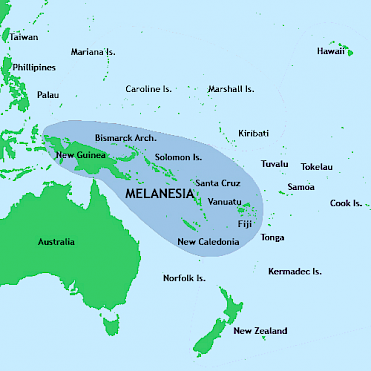 One cartographical definition of Melanesia, an arena for Australian and (since recently) Chinese ambitions in a broader Pacific World. Papua New Guinea, discussed in the text, constitutes the eastern half of the larger island of New Guinea.