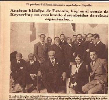 From the Spanish weekly Crónica, 11 May 1930, a report of Keyserling's visit to Madrid, where he is described as an 'Old count from Estonia, now a wandering discoverer of spiritual reigns'.